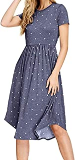 YOKST Women's Short Sleeve Dress Pleated Polka Dot Pocket Swing Dress Elastic Waist Cocktail Sexy Casual Midi Dress for Tourism Shopping Get Together Beach Vacation (Color : Light blue, Size : S)