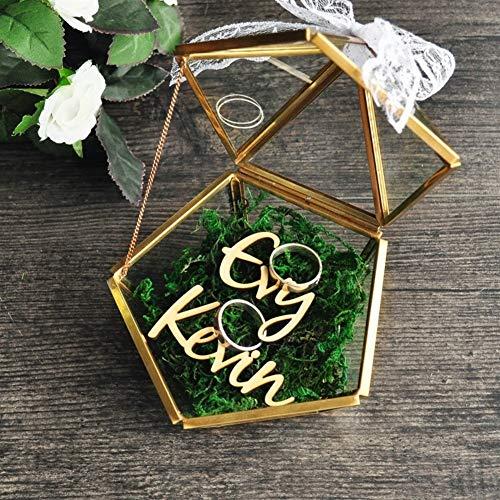 La caja del sostenedor del anillo de bodas rústico propuesta de ma Pentágono el regalo personalizado de la joyería caja portador almohada