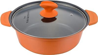 [Amazonブランド] Umi.(ウミ) 両手鍋 IH対応 カレー鍋 24cm ラーメン鍋 ダイヤモンドコートパン 家族料理 焦げ付かない ガラス蓋付き 星の模様 オレンジ