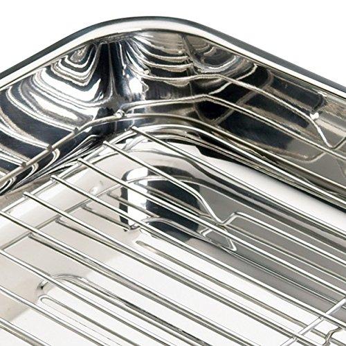 61YXjRie3UL - Kitchen Craft Bräter mit Rost aus Edelstahl, 37 x 28x 6.5cm
