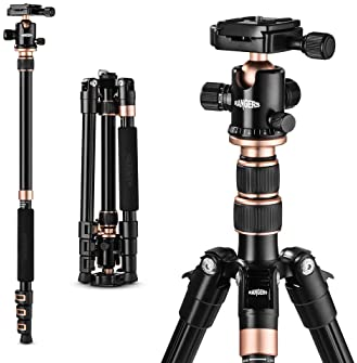 """TYCKA Rangers 56"""" Compact Travel Tripod, Lightweight Aluminum Camera Tripod for DSLR Camera with 360° Panorama Ball H..."""