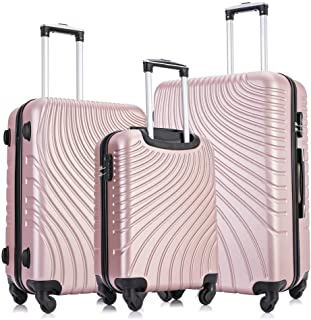Fridtrip Carry On Luggage with Spinner Wheels Luggage Sets Travel Suitcase Hardshell Lightweight (Rose Gold, 3 PCS)