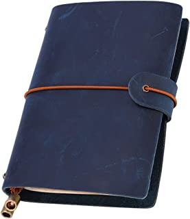 Leatheory Refillable Leather Journal, Handmade Travelers Notebook, Leather Travel Journal Notebook, Vintage Antique Travel Diary- Perfect Gift for Men or Women (Small, Navy Blue(crazy horse leather))