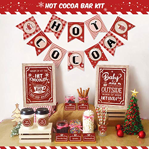 Hot Cocoa Bar Kit Hot Cocoa Banner Hot Chocolate Bar Sign Toppings Tent Cards Cup Tags Stickers for Wintertime Holiday Christmas Party New Year Party Baby It's Cold Outside Decorations (Red and White Style)