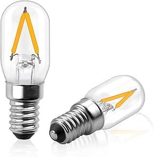 Bonlux Bombillas de 12 V LED E14, bombilla para lámpara de sal, bombillas T22 candelabros E14, vintage, luz nocturna blanca cálida 2700 K, 2 W para frigorífico/lámpara de sal.