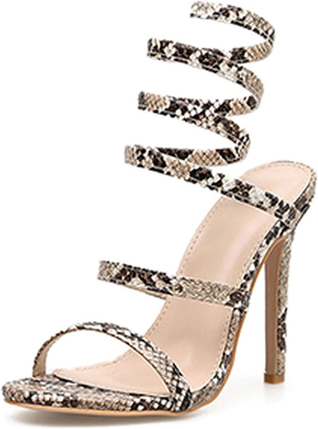 HuangKang Serpentine Gladiator Heels Sandals shoes Sexy Thin Heel Women Peep Toe Ankle Strap shoes