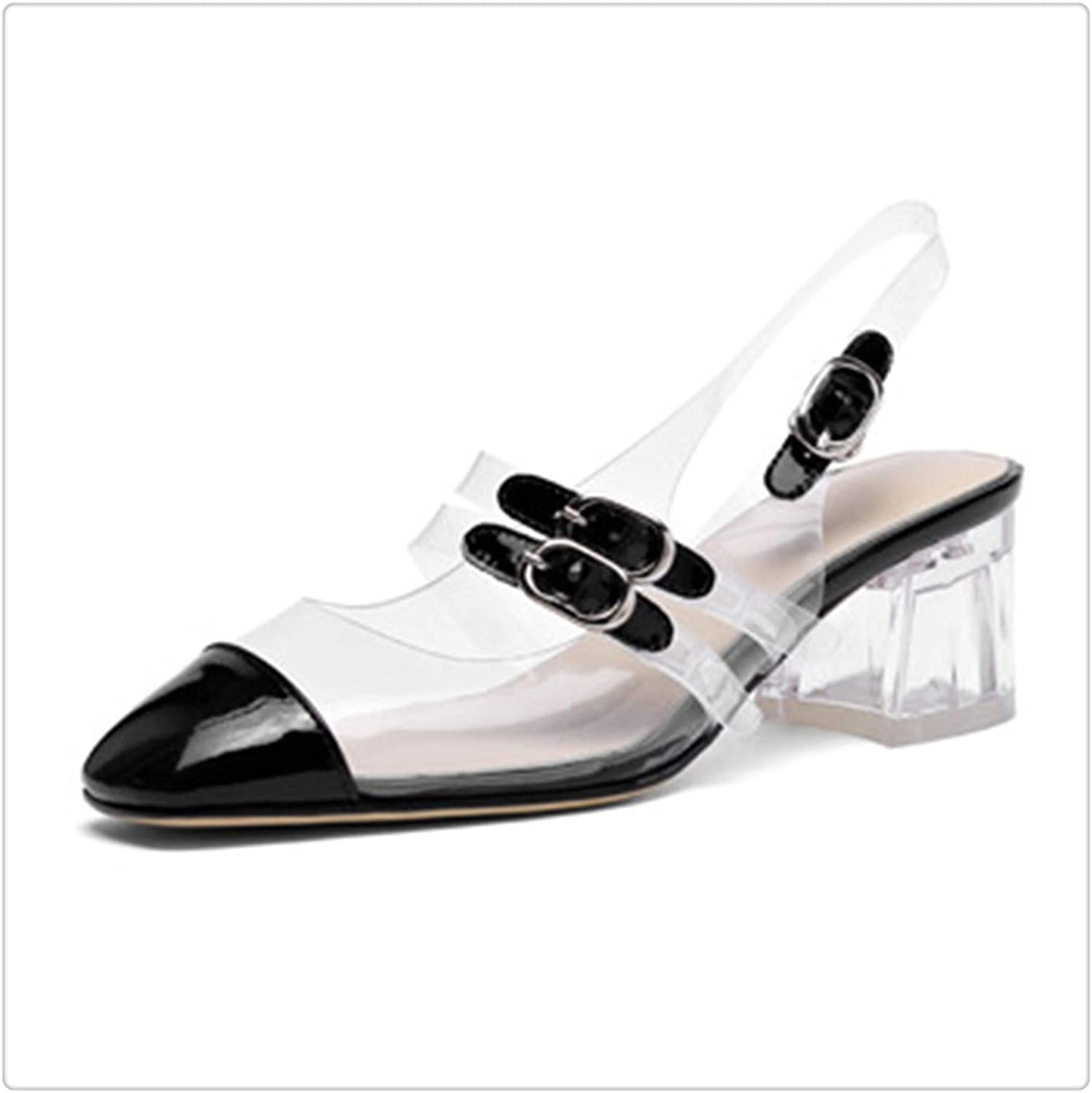 HROST& 2019 New Spring Summer Square Toe Patent Leather Buckle Strap Mixed colorsHigh Heels Sandals Women Fashion Tide 10SJ359 Black 37