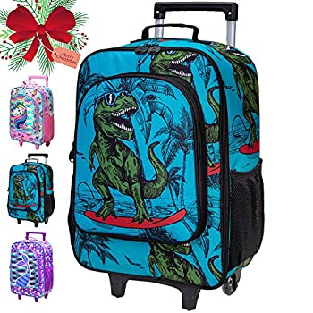 Kids Suitcase Boys Rolling Luggage with Wheels - Dinosaur
