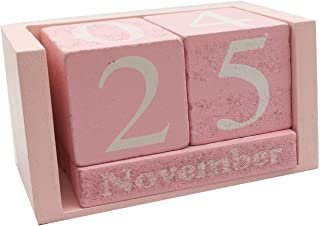 Small Wooden Desk Blocks Calendar - Perpetual Block Month Date Display Home Office Decoration(Pink), 3.7 x 2.1 x 1.7 inches
