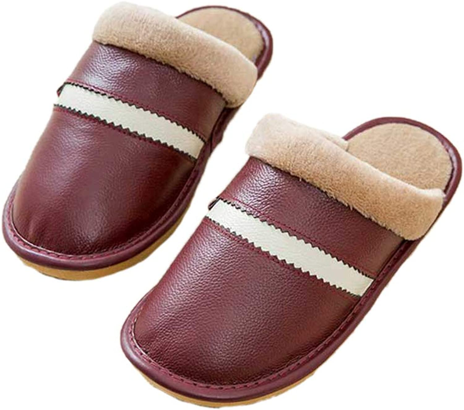 Nafanio Family Genuine Leather Slippers Indoor Women Men Warm Winter Home Thick Cotton shoes
