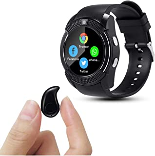 Enraciner [Buy Watch FREE Headset] V8 Sports Smartwatch Bluetooth with Camera Message Push Touch Screen Pedometer Sedentar...