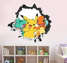 WARMBERL Stickers Muraux Ling Pokémon Groupe Smashing Wall Decal Enfants 3D Autocollant Décoration Vinyle Art