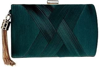 Redland Art Women's Fashion Polyester Woven Mini Clutch Bag Wristlet Shoulder Crossbody Evening Handbag Catching Purse Bag for Wedding Party (Color : Green)