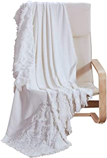 """PHF Cotton Throw Blanket Clipped Jacquard for Adults, Kids, Bed, Couch, Sofa, Car Soft Cozy for Winter 50"""" x 60"""" White"""