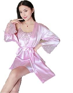 AkingLee Women's Satin Kimono Robe, Solid Color, Short, tSexy Condole Belt Two-Piece