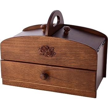 ソーイングボックス 木製 裁縫箱 裁縫道具箱 引き出し 2段 日本製