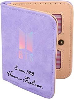 PALAY® Kpop BTS Bangtan Boys Short 2 Fold Wallet Candy Colours Student Wallet Boys Girls Small Wallet Hot Gift (Purple)