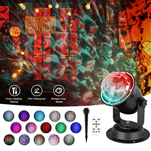 Ocean Wave Night Light Projector, Colorful Automatically Moving Waterproof LED Projector Lamp Remote Control Timer Sleep Soothing Baby Room Holiday Projector for Christmas Halloween Wedding Party Home
