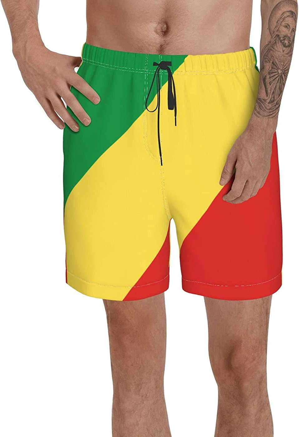 Republic of The Congo Flag Men's 3D Printed Funny Summer Quick Dry Swim Short Board Shorts with
