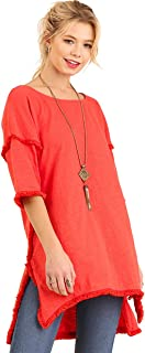 Best Seller! Textured Knit Tunic with Fringe Accents