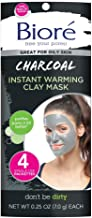 Bioré Charcoal Instant Warming Clay Mask for Oily Skin 4 Count, with Natural Charcoal to Deep Clean, Dermatologist Tested, Oil Free, Vegan Friendly, Cruelty Free, Paraben Free (Packaging May Vary)