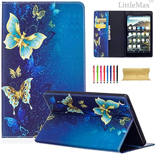"""LittleMax Magnetic Closure Flip Soft Gel Protective Case with Card Slot for HD 8"""" 6th Gen 2016 Release - 01 Blue Gold Butterfly"""