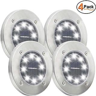 Maggift Solar Ground Lights, 8 LED Garden Pathway Outdoor In-Ground Lights, 4
