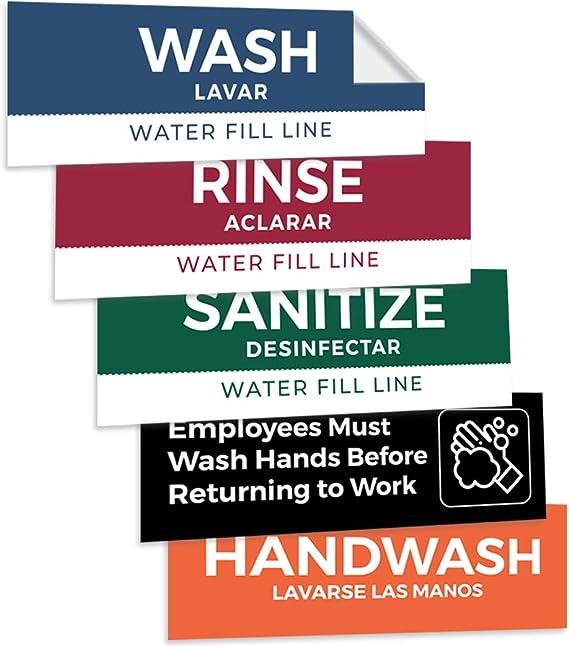 Pixelverse Design - Wash Rinse Sanitize Handwash Stickers - Great for Restaurants