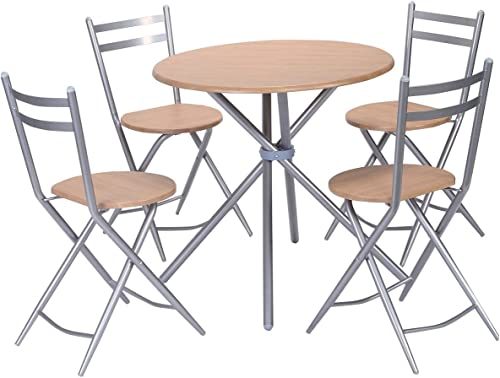 high quality Giantex wholesale 5 PCS Folding Round high quality Table Chairs Set Furniture Kitchen Living Room New sale