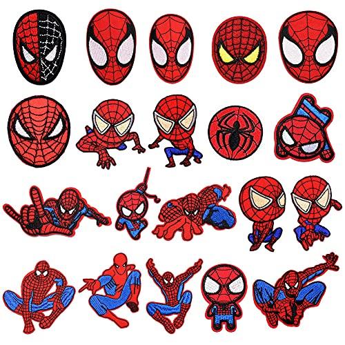 CYSJ 20 PCS Patch Thermocollant, Thermocollants Motif Spiderman pour Jeans, Vestes, Vêtements, Sacs à Main, Chaussures, Casquettes pour Enfants et Adultes