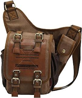 Canvas Leather Bag,Brown Cross Body,Single Shoulder Military Bag,Messenger School Travel Hiking Satchel