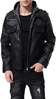 Men's Faux Leather Jacket with Hood Motorcycle Bomber Fashion Slim Fit Winter Coat