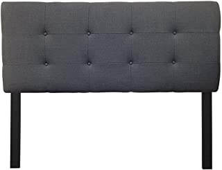 Sole Designs Ali Collection Padded Adjustable Eastern King Sized Upholstered Bedroom Headboard with 8 Button Tufting, Loft Series, Charcoal Finish