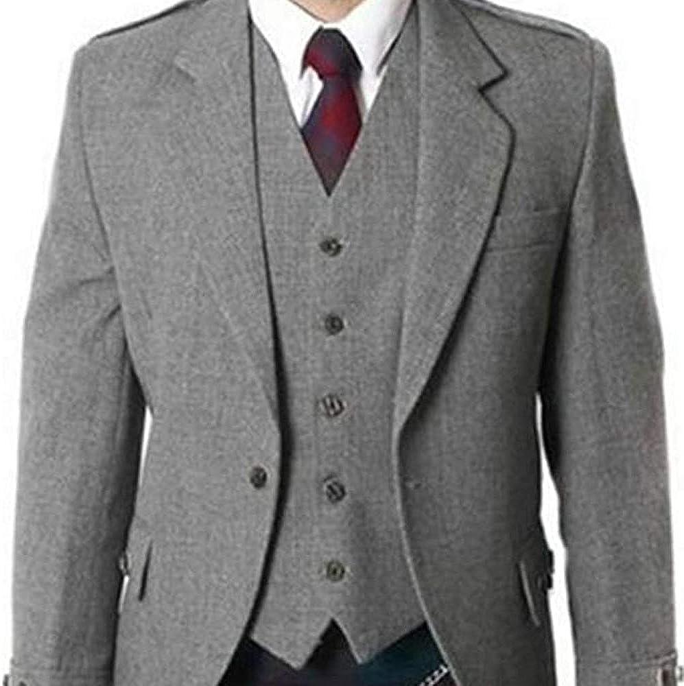 MasonicDirect Grey Argyle Jacket Tweed Highland Kilt Scottish Jacket & Waistcoat Wedding Dress