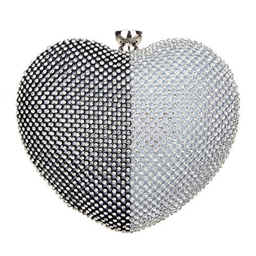 Bonjanvye Heart Shape Diamond Clutch Bag for Ladies Trendy Evening Purse Purple