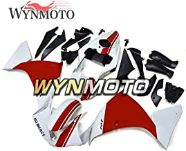 WYNMOTO New 12-14 R1 Motorcycles White Red Injection ABS Complete Fairing Kit For Yamaha YZF1000 R1 Year 2012 2013 2014 Sportbike Bodywork Body Kits Cowlings