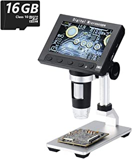 Jiusion 4.3inch Screen Full Color LCD Digital USB Microscope with 16G Micro SD Card, 10X - 500X Magnification Zoom Camera 1920X1080P Video Recording/Saving, PCB Coins Magnify for Windows, Mac