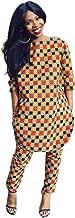 Doris Women's African Print 3/4 Sleeve Tops and Long Pants Set
