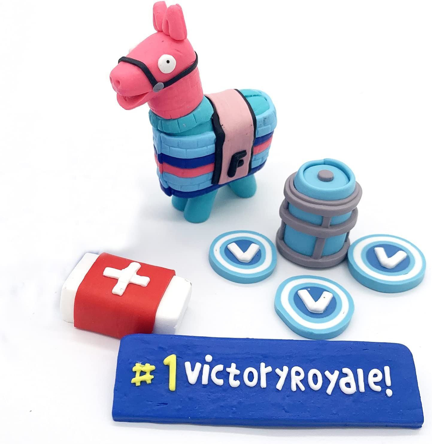 7Pcs Direct store Handmade Battle Royale Video Game Topper Llama High material Cake De