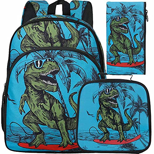 3PCS Dinosaur Backpack for Boy, 16' Kids Bookbag and Lunch Box