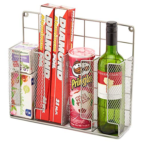EZOWare Cabinet Door Mount Kitchen Countertop Wrap Organizer Rack For Food Storage Bags, Aluminum Foil, Wax Paper, Plastic Wrap - Silver