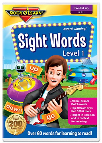 Sight Words Level 1 DVD by Rock 'N Learn: 60+ words includes all pre-primer Dolch words and many Fry words