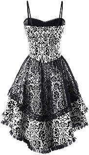 YYLZA Vintage Women Party Dress Lace Up Dip Hem Corset Dress Ball Gown Dress