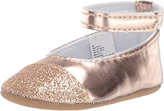 Kids Baby Girl Shoes with Velcro Straps, Rose Gold Mary Jane Flat