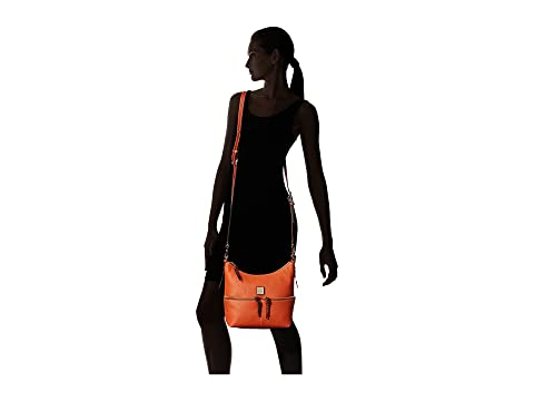 Free Shipping For Cheap Clearance With Credit Card Dooney & Bourke Pebble Alyssa Crossbody Tangerine/Tan Trim Supply Supply For Sale Cheapest Online ltM89EG