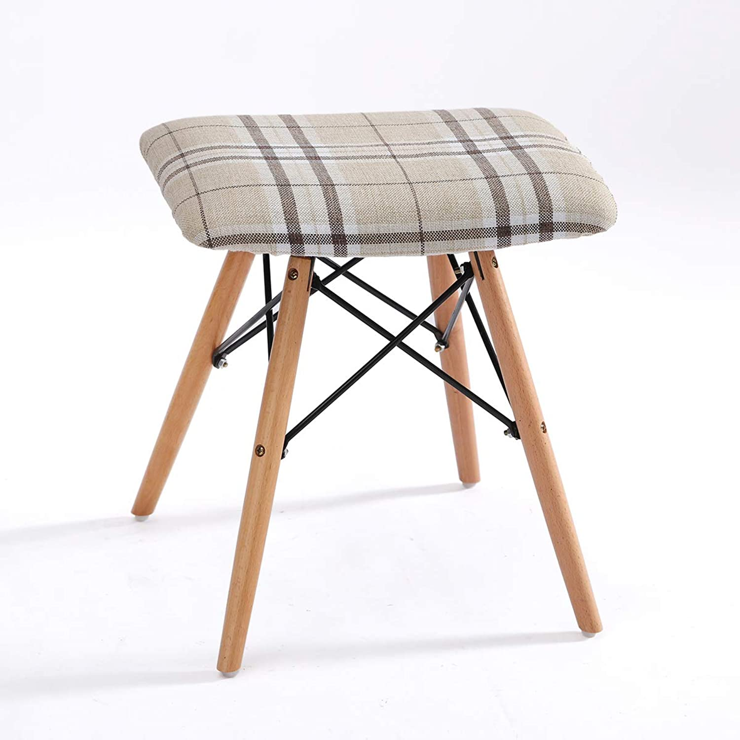 Solid Wood Stool Fabric Dining Stool Makeup Stool Fashion Creative Computer Stool Dressing Stool Home Bench