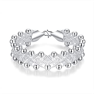 BESTPICKS 925 Sterling Silver Rock Design Ball Beads Bangle Bracelet Gift for Women