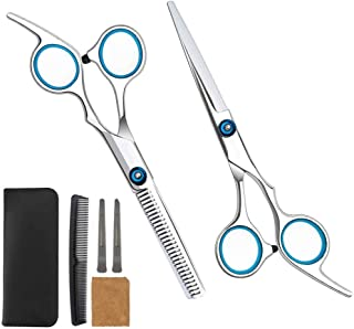 Hair Scissors 6 Pcs Professional Hair Cutting Scissors Set Haircutting Comb Hair Cutting Shears Barber Thinning Scissors Hairdressing Shears with Black Leather Case Hair Clips and Comb