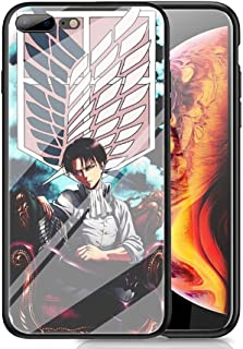 RUIWEI RWNO-297 Attack on Titan Designed for iPhone 7 Plus/8 Plus Case,Tempered Glass Back Cover and Black Anti-Scratch Shock Absorption Cover Case