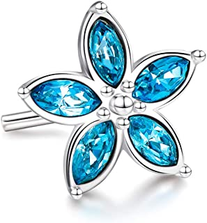 AOBOCO Sterling Silver Flower Nose Ring Stud for Women with Swarovski Crystal, 10 mm L-shaped Beautiful Hypoallergenic Piercing Body Jewelry Aquamarine Blue
